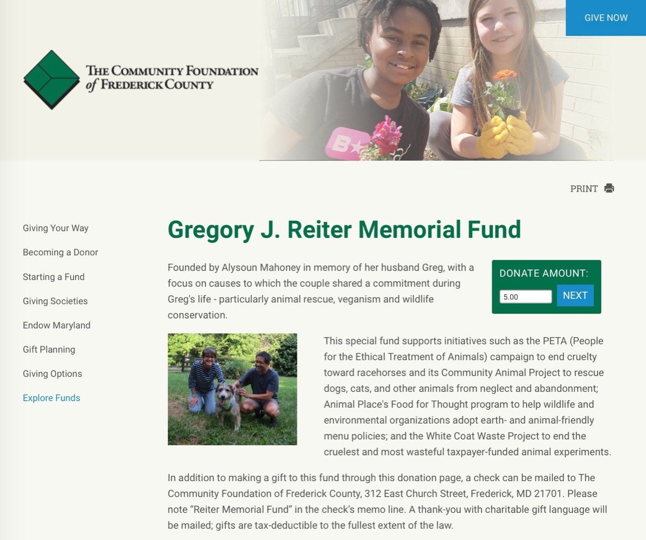 Frederick Community Foundation Donate Page